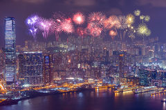Fireworks Festival over Hong Kong city at night Royalty Free Stock Photo