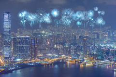 Fireworks Festival over Hong Kong city at night Stock Photo
