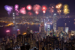 Fireworks Festival over Hong Kong city at night Royalty Free Stock Photography