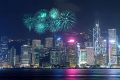 Fireworks Festival over Hong Kong city Stock Images