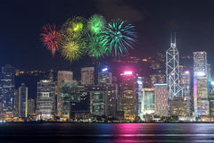 Fireworks Festival over Hong Kong city Stock Image