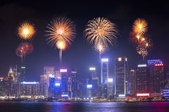 Fireworks Festival over Hong Kong city Royalty Free Stock Photos