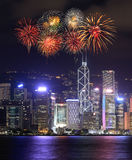 Fireworks Festival over Hong Kong city Royalty Free Stock Image