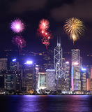 Fireworks Festival over Hong Kong city Royalty Free Stock Photo