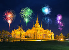 Fireworks Festival over Wat Luang Pho Toh temple in  at Nakhon R Stock Image