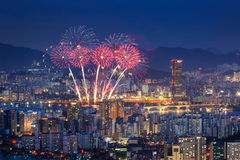 Fireworks Festival and Seoul City, South Korea. Royalty Free Stock Images