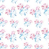 Fireworks festival for 4th of July. Watercolor pattern for holidays, United Stated independence day. Design for print. Watercolor fireworks festival pattern for Royalty Free Stock Images