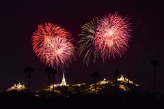 Fireworks festival in Thailand Stock Images