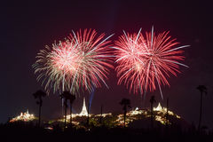 Fireworks festival in Thailand Royalty Free Stock Photo