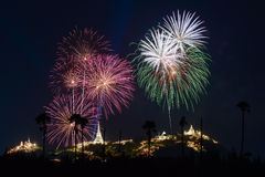 Fireworks festival in Thailand Royalty Free Stock Photos