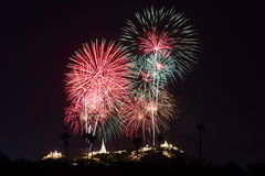 Fireworks festival in Thailand Royalty Free Stock Photography