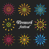 Fireworks Festival. Vector works, Fireworks festival pack Royalty Free Stock Photos