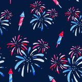 Fireworks festival. Watercolor pattern for holidays, 4th of July, United Stated independence day. Design for print, card. Banner stock illustration