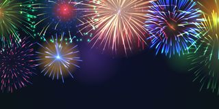 Fireworks festive banner with space for text royalty free stock photos