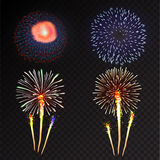 Fireworks festive  bursting sparkling vector. Fireworks festive  bursting with pattern in various forms sparkling icons set black background abstract vector Royalty Free Stock Photos