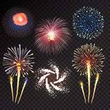 Fireworks festive  bursting sparkling vector. Fireworks festive  bursting with pattern in various forms sparkling icons set black background abstract vector Royalty Free Stock Image