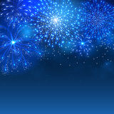 Fireworks. Festive firework bursting in various shapes and blue colors sparkling against night sky background. Abstract vector illustration Stock Images
