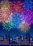 Fireworks. Festive firework bursting in various shapes and colors sparkling on blue sky background over the cityscape. Vector illustration Royalty Free Stock Images