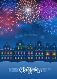Fireworks. Festive firework bursting in various shapes and colors sparkling on blue sky background over the cityscape. Vector illustration Royalty Free Stock Image