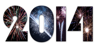 2014 fireworks. Festive 2014 with fireworks, isolated. Illustration Stock Photo
