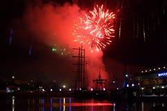 Fireworks fiery sky,Varna port Stock Photography