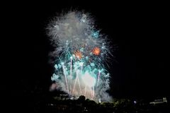 Fireworks during Fiesta, Bilbao, Spain. Fotost filmed in 2018. royalty free illustration