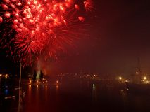 Fireworks on the final race. Royalty Free Stock Photo