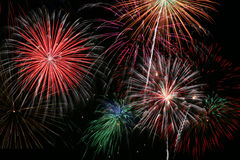 Fireworks Finale. Colorful Firework Show Finale with Multiple Bursts Stock Photo