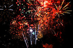 Fireworks finale. The final moments of a colorful firework display Royalty Free Stock Photos