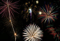 Fireworks Finale with Multiple Bursts Stock Photos