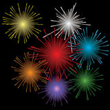 Fireworks. Fire color background. Glow explosion. Vector illustration Royalty Free Stock Photography