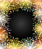 Fireworks fire color frame blackboard Royalty Free Stock Image