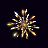 Fireworks from fire on dark background. Vector illustration Stock Photography