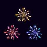 Fireworks from fire on dark background. Vector illustration Royalty Free Stock Images