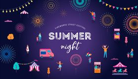 Fireworks, firecracker at night, celebration background, winner, victory poster, banner - vector illustration stock illustration