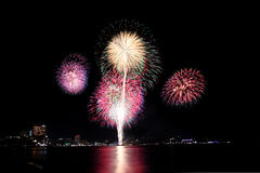 Fireworks or firecracker in Pattaya city,Thailand. Stock Image