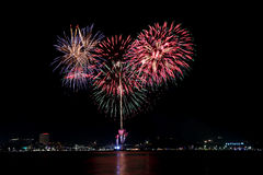 Fireworks or firecracker in Pattaya,Thailand. Royalty Free Stock Photo