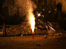 Fireworks or firecrackers during Diwali or Christmas festival Stock Photography