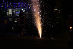 Fireworks or firecrackers during Diwali or Christmas festival Royalty Free Stock Images