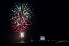 Fireworks. Fireword over the pier as part of the International Fireworks Festival Scheveningen royalty free stock photo