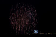 Fireworks. Fireword over the pier as part of the International Fireworks Festival Scheveningen Royalty Free Stock Photography