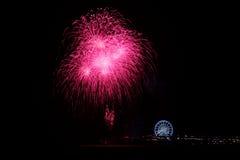 Fireworks. Fireword over the pier as part of the International Fireworks Festival Scheveningen Stock Photos