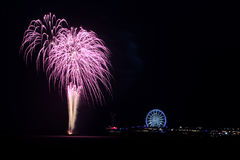 Fireworks. Fireword over the pier as part of the International Fireworks Festival Scheveningen Royalty Free Stock Photos