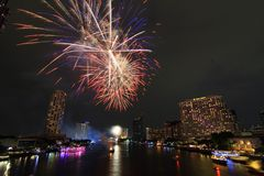 Fireworks. Firework on the river light night Stock Photos