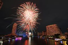 Fireworks. Firework on the river light night Royalty Free Stock Images