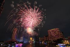 Fireworks. Firework on the river light night Stock Images