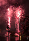 Fireworks. Firework show outdoors in the sky Stock Photo