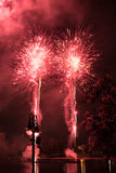 Fireworks. Firework show outdoors in the sky Royalty Free Stock Images