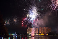 Fireworks. Firework show outdoors in the sky Royalty Free Stock Photography
