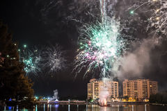 Fireworks. Firework show outdoors in the sky Royalty Free Stock Photos